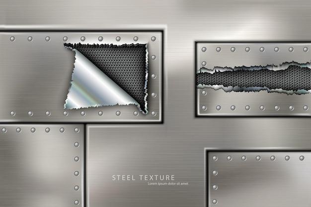 Riveted steel rivets and screws metal background.