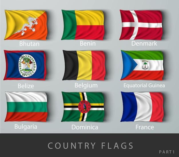 Склепанный флаг страны, испещренный тенями