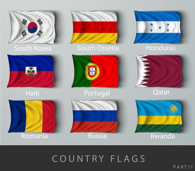 影にしわが寄った国旗をリベットで留める
