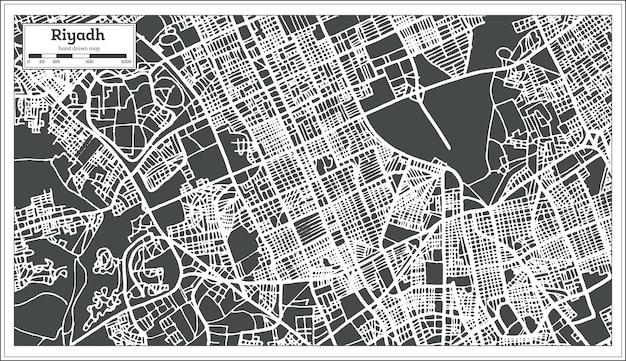 レトロなスタイルのリヤドサウジアラビアの都市地図。ベクトルイラスト。白地図。