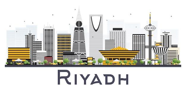 白い背景で隔離の灰色の建物とリヤドサウジアラビアの街のスカイライン。ベクトルイラスト。近代建築とビジネス旅行と観光の概念。ランドマークのあるリヤドの街並み。