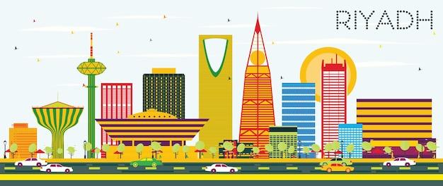 色の建物と青い空とリヤドのスカイライン。ベクトルイラスト。出張と観光の概念。プレゼンテーションバナープラカードとwebサイトの画像。