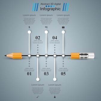 道路3dデジタル図インフォグラフィック。鉛筆アイコン。