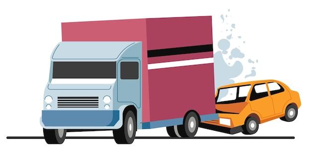 자동차 및 운송 트럭과 관련된 도로 사고, 교통 충돌. 차량에 대한 긴급 상황 및 사고. 파손된 차량의 범퍼가 박살났습니다. 연기와 함께 불타는 자동차, 평면 스타일의 벡터