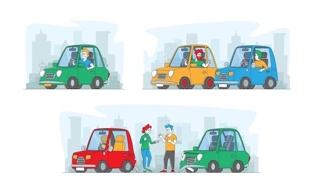 道路の攻撃性、自動車事故でのキャラクターの衝突