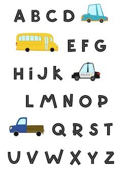 Дорожный алфавит и цифры набор детских машинок в мультяшном стиле забавный транспорт