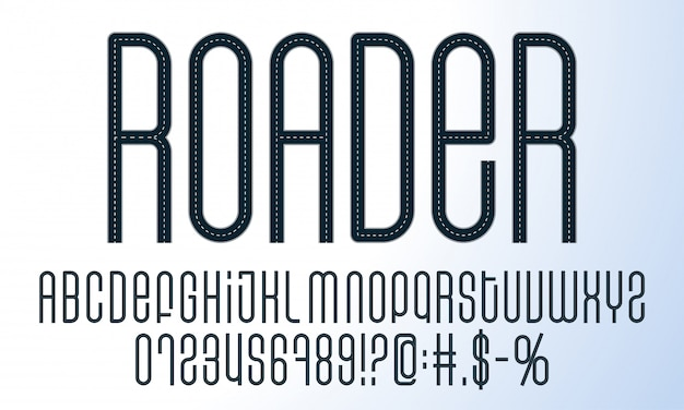 Road alphabet set. a collection of letters, symbols and numbers made in the road style.
