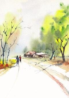마을의 도로 및 작업자 오후 빛
