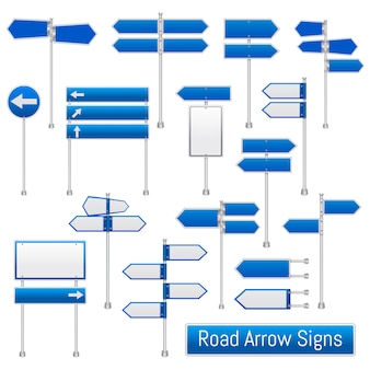 Road arrow signs realistic set