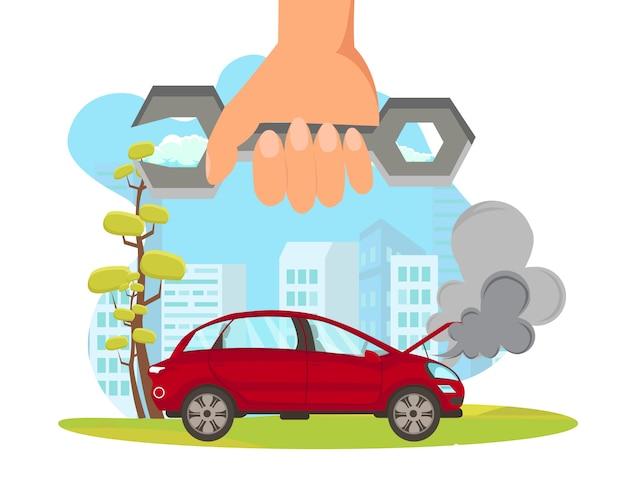 Road assistance flat vector cartoon illustration