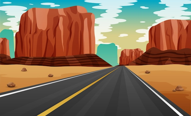 砂漠のイラストで道路