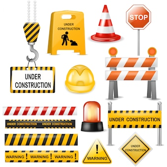 Road barrier street traffic-barrier warning and barricade blocks on highway illustration set of roadblock detour and realistic blocked roadwork barrier isolated on white background