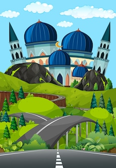 A road to beautiful mosque