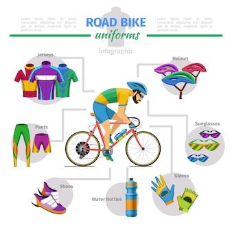 Униформа дорожного велосипеда вектор инфографики. велосипед и перчатка, футболка и шлем, иллюстрация комфорта обуви