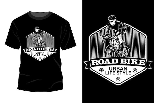 도로 자전거 도시 생활 스타일 티셔츠 이랑 디자인 실루엣