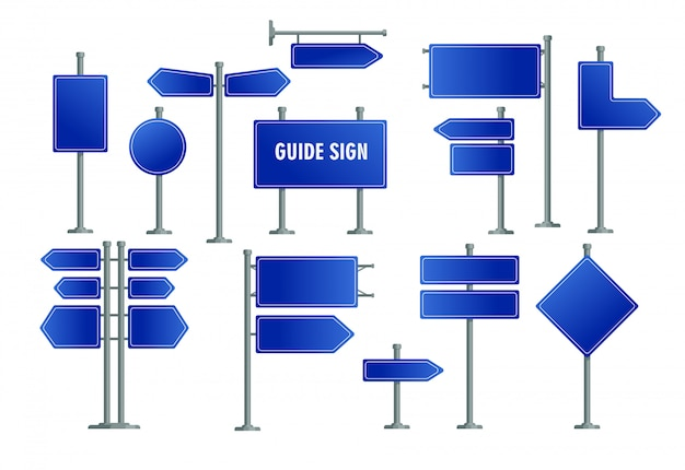 Road blue signs set