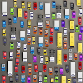 Автомобильный транспорт, фон пробки. векторная иллюстрация
