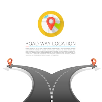 Road choice, road arrow cover, road way location , vector background
