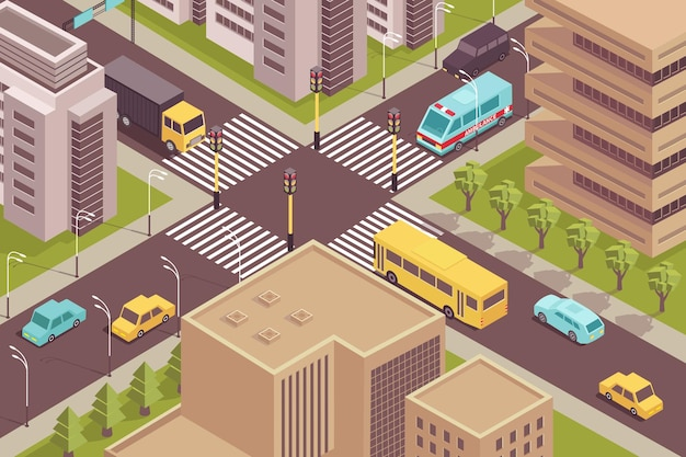 Road city isometric scenery with birds eye view of signalized intersection with cars and modern buildings  illustration