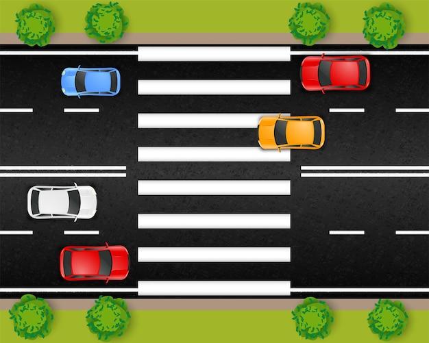 Дорожная городская уличная транспортная композиция с видом сверху на участок автомагистрали с автомобилями и полосами пешеходного перехода