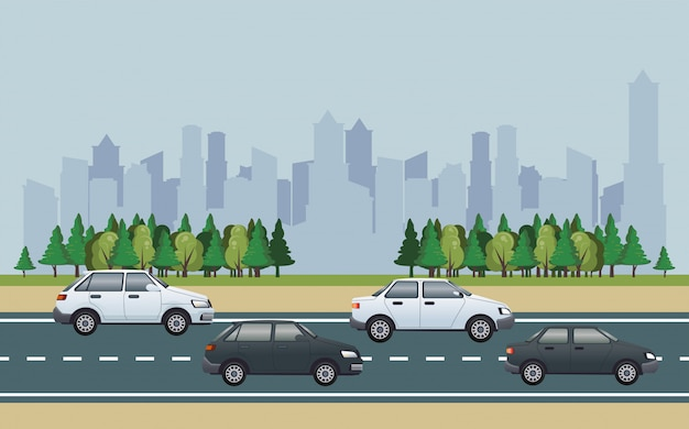 Road cityscape scene with vehicles illustration