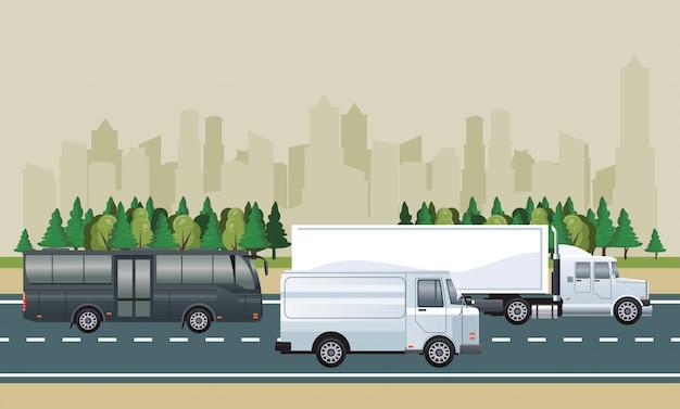 Сцена городского пейзажа дороги с автомобилями