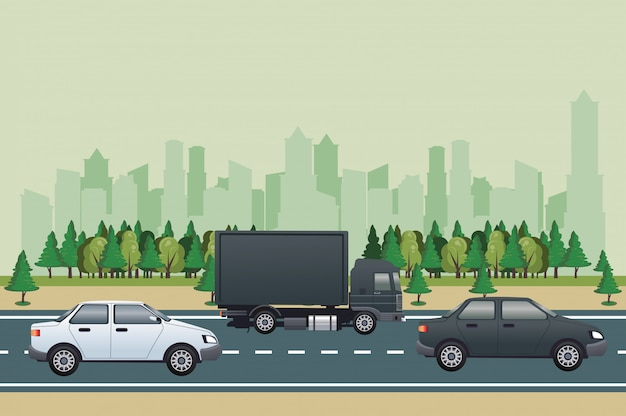 Road cityscape scene with vehicles