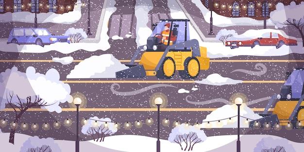 노란색 트랙터로 도로 청소 평면 구성은 떨어진 눈의 길을 청소하고 있습니다