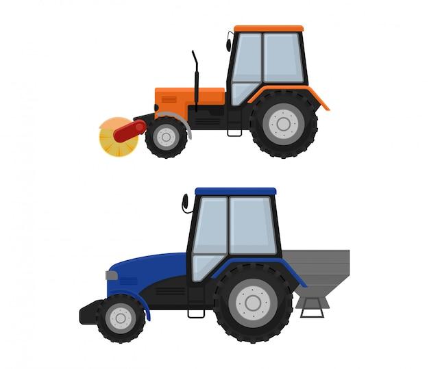 道路清掃機ショベルトラクター車両トラック掃除人洗浄街路図、車両バン猫ショベルブルドーザートラクター大型トラック輸送背景に