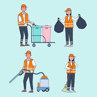 Personale addetto alla pulizia delle strade si occupa della pulizia delle strade della città, compreso lo spazzamento delle strade, la raccolta dei rifiuti, l'aspirapolvere per rendere la città pulita e in ordine. illustrazione piatta