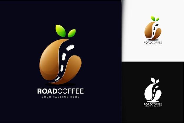 그라디언트가 있는 도로 커피 로고 디자인