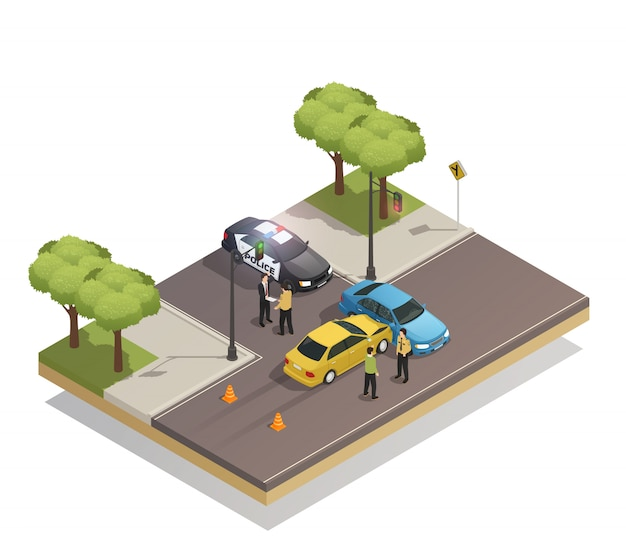 Road collision accident isometric