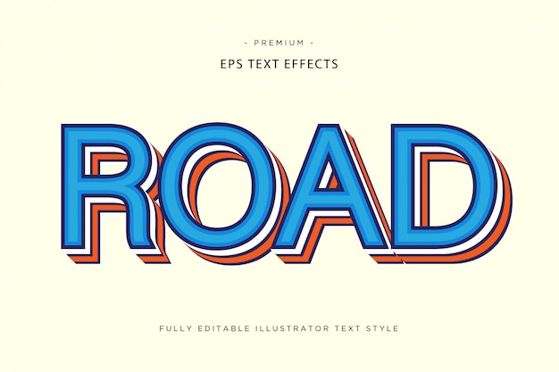 Road colorful text effect - text style