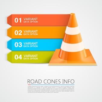 Road cones info, cones info numbers. vector illustration