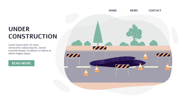 Road under construction and highway repair works banner template,   illustration  on white background. road services and city environment improvement.