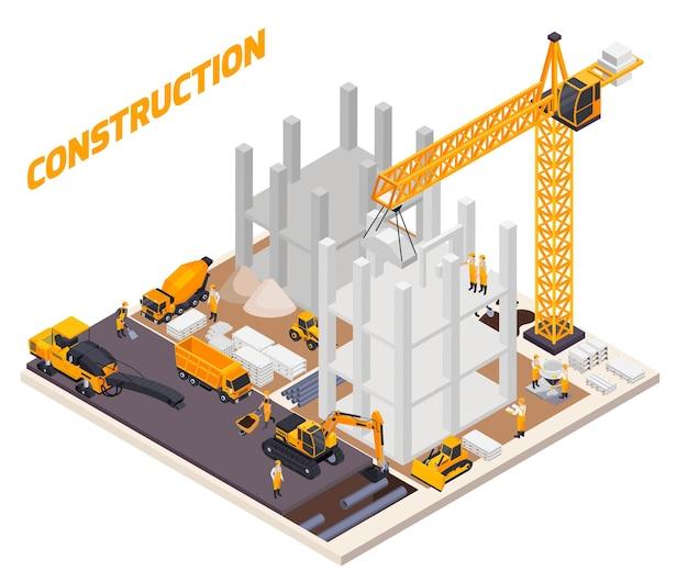 Road construction isometric illustration