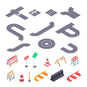 Road under construction isometric kit illustration