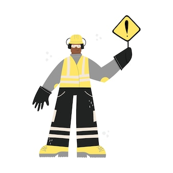 도로 건설 또는 공장 산업 노동자 하드 모자를 쓰고