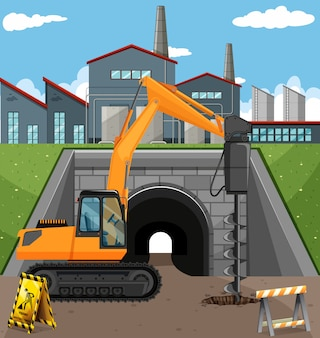 Road construction scene with driller