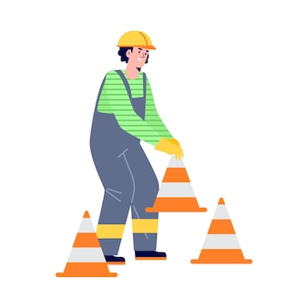 Road construction worker places traffic cones in flat style vector illustration