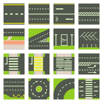 Road constructor module icons set