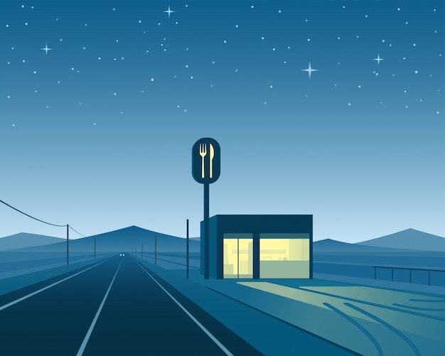 Road diner at night scene