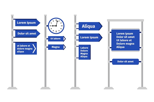 Road direction sign set   illustration. different types of roadsigns and signposts, arrows and boards isolated