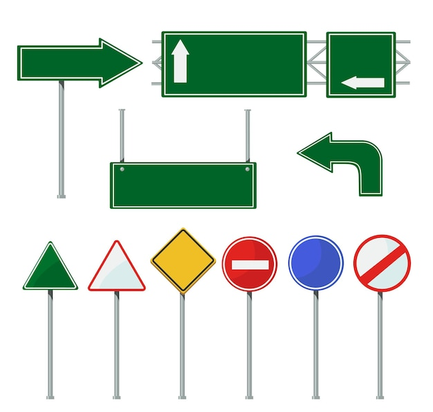 Road direction signs on poles set