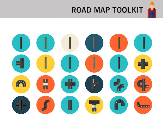 Road elements create your own road map concept flat icons.