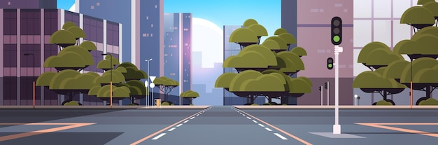 Road empty street with crossroad and traffic light city buildings skyline modern architecture cityscape