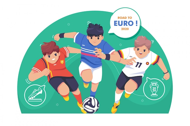 Road to euro football illustration