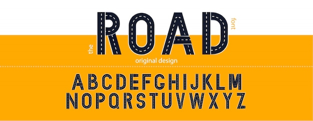 Road font. typography  with street lines.  letters