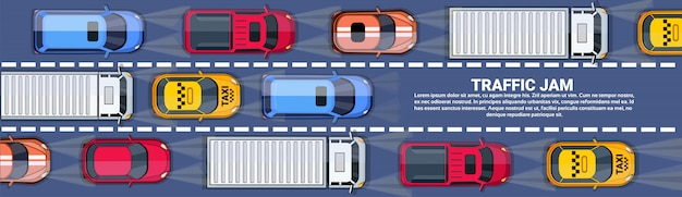 Road full of cars and trucks top angle view traffic jam on highway horizontal banner with copy space