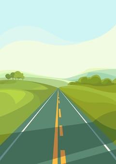 田んぼを貫く道。縦向きの屋外シーン。 Premiumベクター